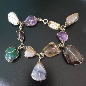 Jewelry - Multi natural gemstone nuggets droplets bracelet.